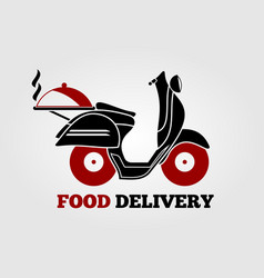 Food delivery logo design with retro scooter vector