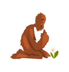 Funny bigfoot sitting on its knees and looking at vector