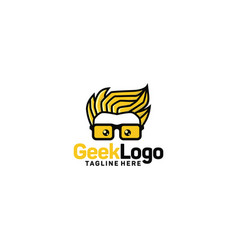 geek logo design template vector image
