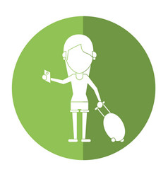Girl tourist passport and baggage shadow vector
