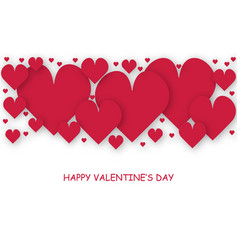 greeting card of valentine day with red hearts vector image