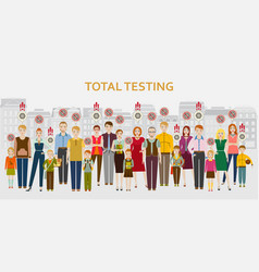 Group people passing covid-19 test men vector