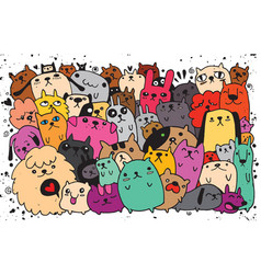 Hand drawn doodle funny dogs set vector