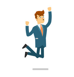 Happy businessman in suit jumping character vector