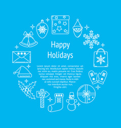 Happy holidays round concept poster with text vector