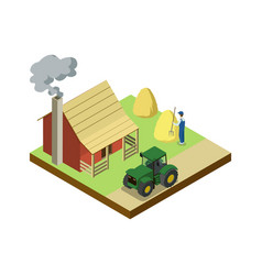 Hay making on field isometric 3d element vector