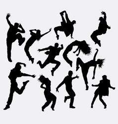 Hip hop male and female dancer silhouettes vector