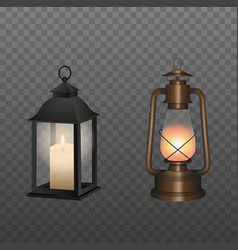 isolated lanterns vector image