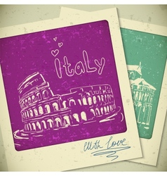 Italy hand drawn landscape in vintage style vector image