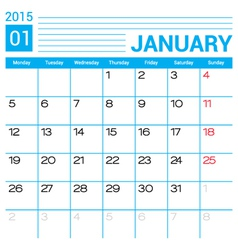 January 2015 calendar template vector image