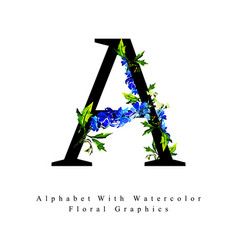 letter a watercolor floral background vector image