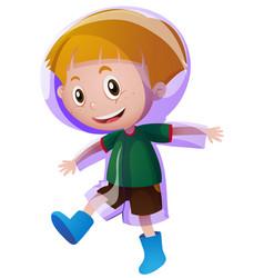Little boy in purple raincoat vector