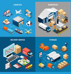 logistics 2x2 isometric concept vector image