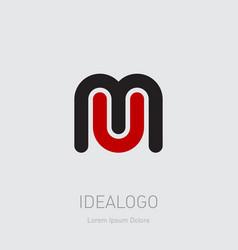 m and u initials logo mu - monogram template vector image