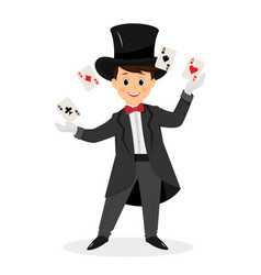 magician with hat and playing cards vector image