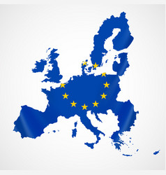 Map of european union and eu flag vector