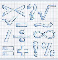 Mathematics and punctuation symbols hand drawn vector