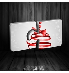 Modern puzzle template with christmas ribbon bow vector