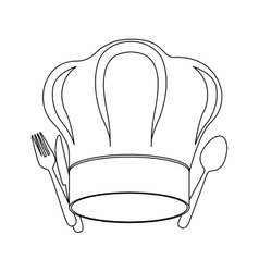 Monochrome contour with chef hat and cutlery vector