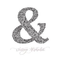 Monoline sign - ampersand vintage logo vector