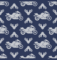 Moto sport seamless pattern with motocycle vector