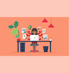 Multi tasking afro business woman at workplace vector
