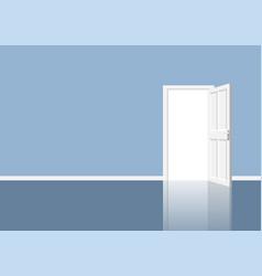 Open door in room with outgoing light vector