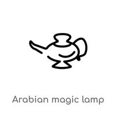 Outline arabian magic lamp icon isolated black vector