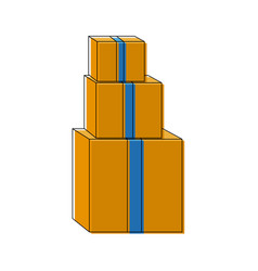 Pile of cardboard boxes delivery cargo vector