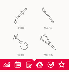 Pipette medical scalpel and clyster icons vector