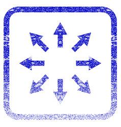 Radial arrows framed textured icon vector