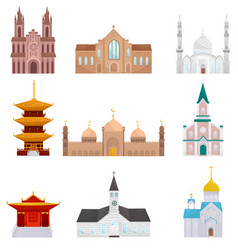 religious buildings set islam buddhist vector image