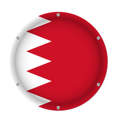 round metallic flag of bahrain with screws vector image
