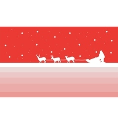 Santa with train deer of silhouettes vector