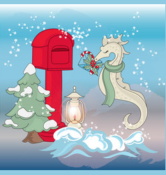 sea horse mail new year color vector image