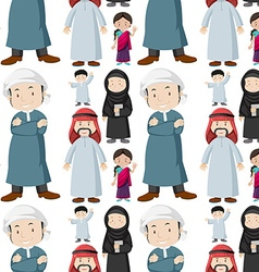 Seamless background of muslim people vector image