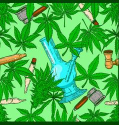 seamless pattern with marijuana leaves bong vector image