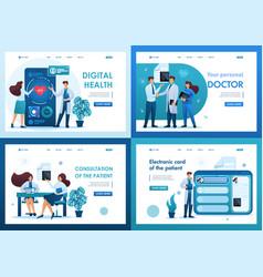 Set 2d flat concepts digital health vector