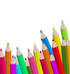 Set colorful pencils on white background vector