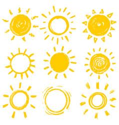 set design elements funny doodle sun vector image