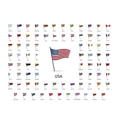 set flags on a pole with shadow vector image