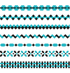 set geometric borders in two colors vector image