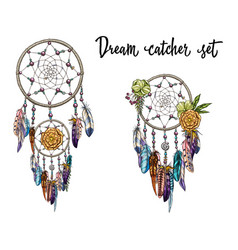 Set of hand drawn dream catchers feathers beads vector