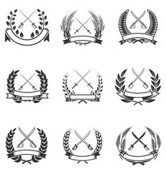 set of the wreaths with swords design elements vector image