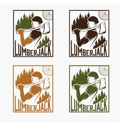 Set of vintage lumberjack labels vector image