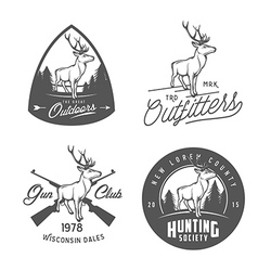 Set vintage outdoors badges and design elements vector