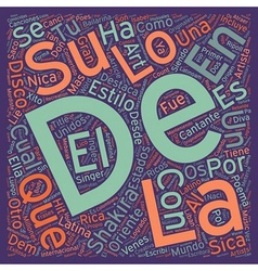 Shakira La Diva Latina text background wordcloud vector image
