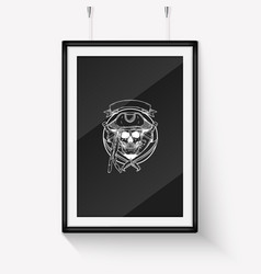 Sketch pirate skull with anchor vector