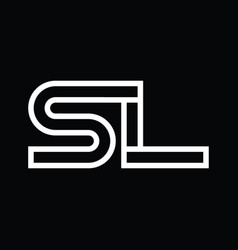 Sl logo monogram with line style negative space vector