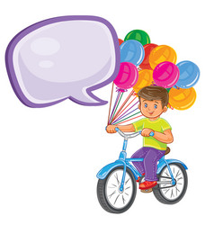 Small boy ride bikes with balloons vector